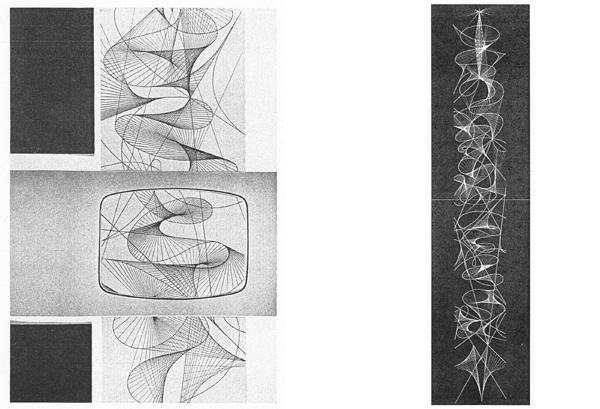 Fig. 4-5 - Tito Varisco, Composizione di geometrie proiettive a forme libere, 1953-54 (da Caramel, 1984 e da Cavadini, Corà & Di Pietrantonio, 2010).