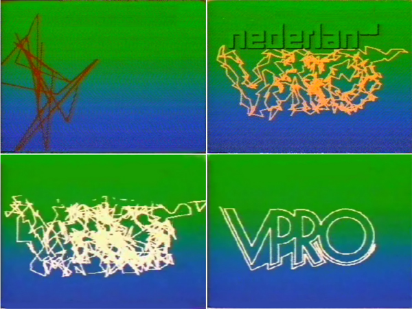 Fig. 4 - Willem van den Berg, VPRO broadcast design, 1984. Four stills from a station call [retouched by the article's authors]. Produced at VPRO and Antics Studio / © VPRO, courtesy of Willem van den Berg