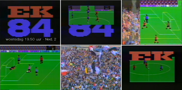 Fig. 5 - Carlo Delbosq/NOS Department of Graphic Design, Programme design for Studio Sport EK (NOS), June 1984. Six stills from the opening animation. Produced at NOS / © NOS, courtesy of YouTube user maurice2468