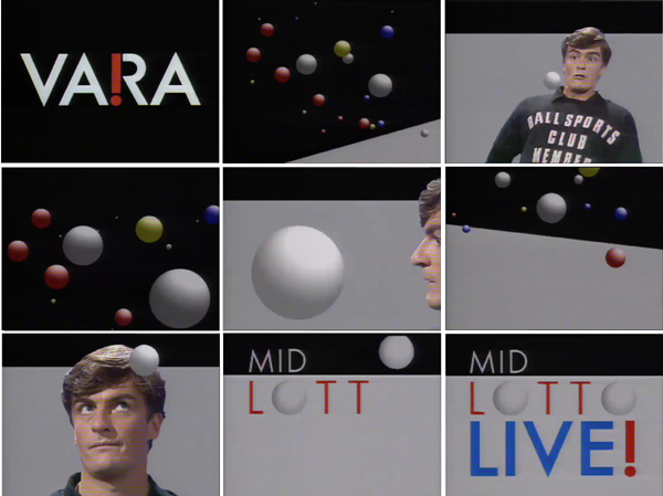Fig. 7 - Carlo Delbosq/NOS Department of Graphic Design, Programme design for Mid Lotto Live (VARA), 1984. Nine stills from the opening animation. Produced by Jan Willem Doorenbos/The Frame and NOS / © Copyright VARA, courtesy of Netherlands Institute for Sound and Vision