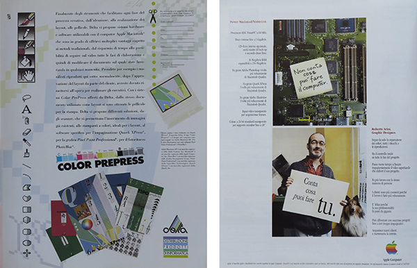 Fig. 8 - Pagina pubblicitaria di Delta (in 1990/2), distributore di software grafici, e di Apple Macintosh 8100/110 (in 1995/3).