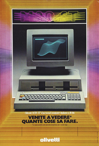 Fig. 4 - Roberto Pieracini, campagna pubblicitaria per il lancio del computer Olivetti M20, 1982; annuncio pubblicitario / Archivio Pieracini, Pesaro.