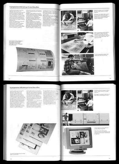 Fig. 9 - G&R Associati, confronto tra la prima edizione di Grafica & stampa (1984) realizzata in fotocomposizione, e la seconda, progettata in digitale (1997) / Biblioteca del progetto grafico, AIAP CDPG, Milano.