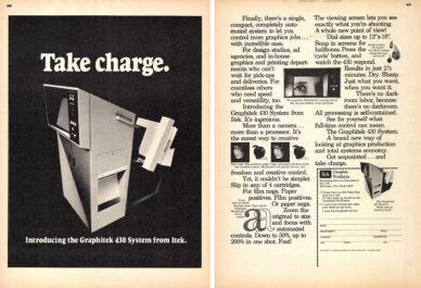 Fig. 1 Pagine pubblicitarie in U&lc dell'azienda Itek per il Graphitek 430 System, 1976.