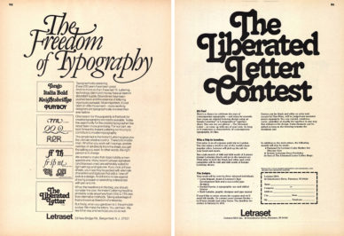 "Fig. 2 Pagine pubblicitaria della Letraset in U&lc: ""The Freedom of Typography"" (1976) e ""The Liberated Letter Contest"" (1978)."