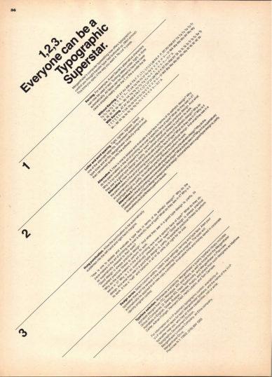 """Fig. 3 """"1, 2, 3. Everyone can be a Typographic Superstar"""", pagina pubblicitaria della Mergen-thaler in U&lc, 1975. Dopo lo slogan il testo proseguiva: """"La composizione compute-rizzata di Mergenthaler adesso ti offre il controllo tipografico che i trasferibili pensavi avessero esaurito""""."""