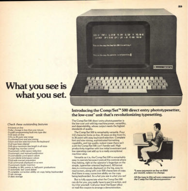 "Fig. 6 ""What You See is What You Set"", pagina pubblicitaria (particolare) della Varytyper Di-vision per la fotocompositrice Comp/SetTM 500, in U&lc, 1975."