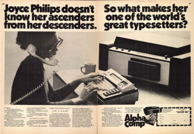 "Fig. 7 ""Joyce Philips doesn't Know her Ascenders from her Descenders"", pagina publicitaria della Alphatype per la fotocompositrice Alphacomp, in U&lc, 1977."