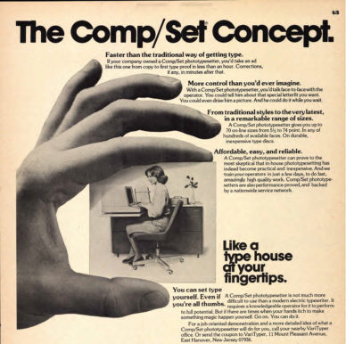 "Fig. 8 ""The Comp/Set Set Concept. Like a Type House at Your fingertips"", pagina pubblicitaria (particolare) della Varytyper Division per la fotocompositrice Comp/Set, in U&lc, 1975."