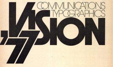 """Fig. 10 Il logo della conferenza """"Vision '77"""", in U&lc (n. 3, settembre 1977)."""