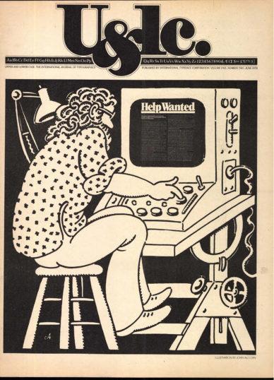 Fig. 11 Prima pagina di U&lc (5/2) 1978. Illustrazione di John Alcorn.