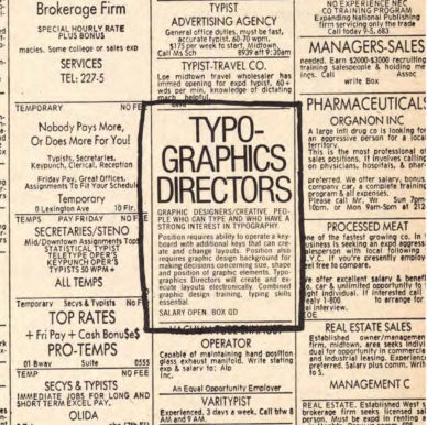 """Fig. 12 Simulazione in U&lc di un annuncio di lavoro per il ruolo di """"Typo-graphics Director"""" (5/2) 1978."""