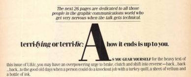 """Fig. 14 Pagina di """"Vision '80s"""" (particolare): con un gioco di parole, si tentava di convincere i lettori che qualcosa di potenzialmente terrificante (Terrifying) poteva forse essere visto anche come meraviglioso (Terrific)."""