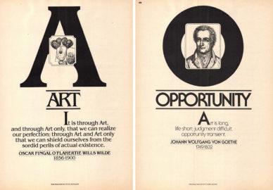 """Fig. 15 """"Vision '80s"""" esordiva con una sequenza in ordine alfabetico di 26 pagine (composte ognuna con un diverso carattere ITC), contenenti brevi citazioni di autori classici della letteratura, della filosofia e della scienza."""