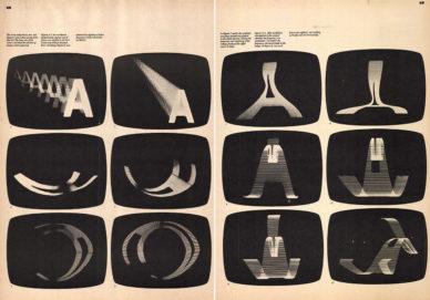 """Fig. 16 Immagini pubblicate in """"Vision '80s"""" dell'esperimento di Sam Antupit con il computer Dolphin."""