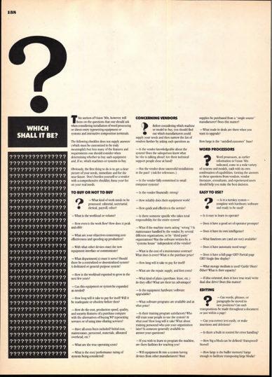 """Fig. 17 Una delle ultime pagine di """"Vision '80s"""" che presenta una serie di interrogativi sul futuro."""