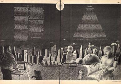"""Fig. 18 Pagine finali di """"Vision '80s"""" con illustrazioni di Andrzej Dudzinski, che dipingeva uno scenario fantascientifico vagamente retro."""