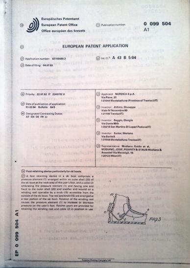 1 – Prima pagina brevetto europeo 0099504 per il sistema di chiusura dello  scarpone da sci registrato dall azienda Nordica a353fdcdc7e