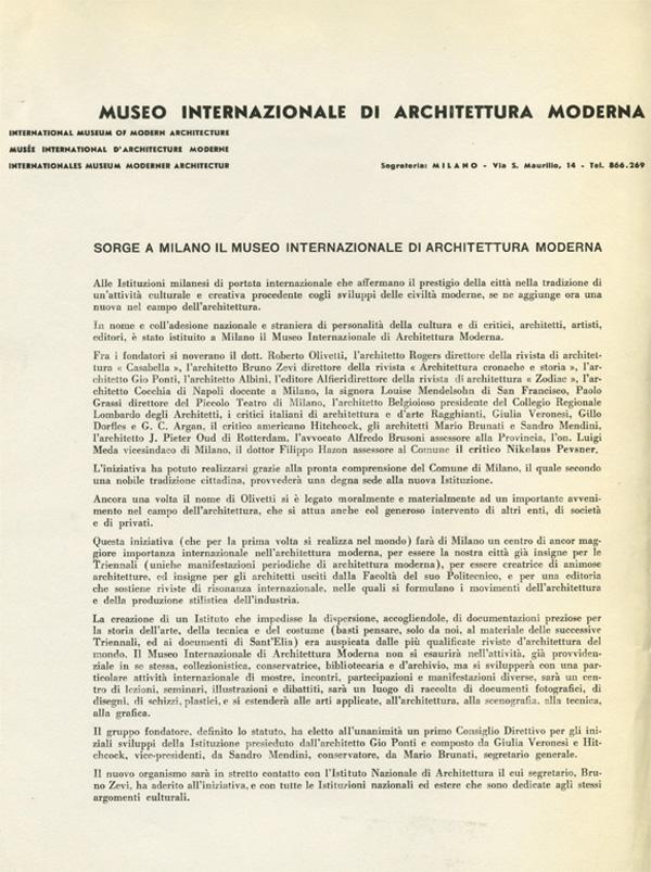 Sorge a Milano il Museo internazionale di architettura moderna, comunicato stampa su carta intestata, [1961] (fald. CS-61-3, cart. CS-61-3-C, AMB).