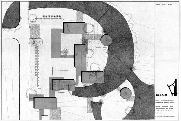 Consiglio direttivo (a cura di), Miam, planimetria con destinazioni funzionali, quartiere sperimentale QT8, [1961] (fald. CS-61-2-3 ABCDEF, cart. CS-61-2-A, AMB).