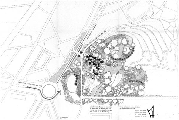 Sandro Mendini, Miam, disegni planimetrici con sistemazioni dell'esterno e del verde, quartiere sperimentale QT8, [1961] (fald. CS-61-2-3 ABCDEF, cart. CS-61-2-A, AMB).