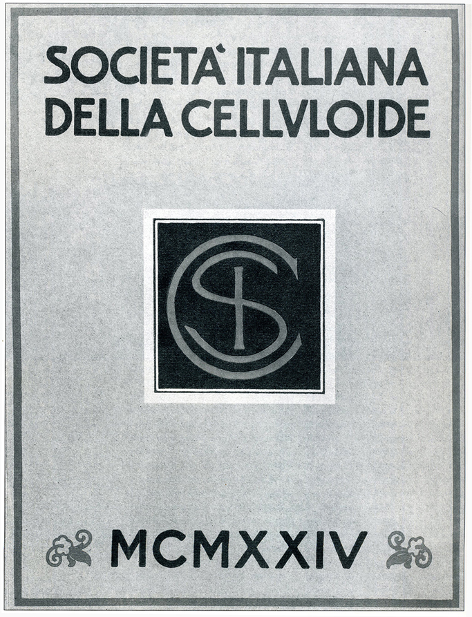Copertina di una pubblicazione edita in occasione dell'inaugurazione della Società Italiana della Celluloide.