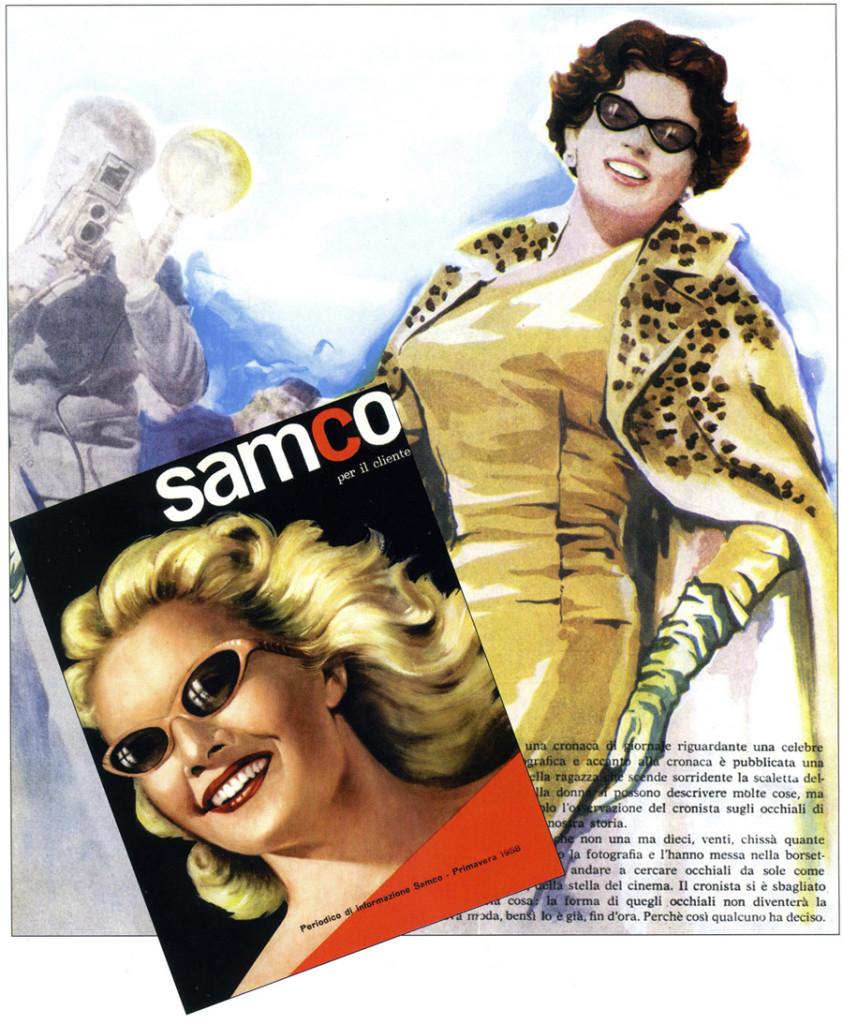 Immagine pubblicitaria degli occhiali realizzati in Acetato di Cellulosa, anni '60.