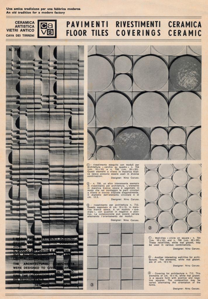 Brochure dell'Azienda CAVA sui rivestimenti in ceramica progettati da Nino Caruso, 1970-71 (?). Archivio Caruso.