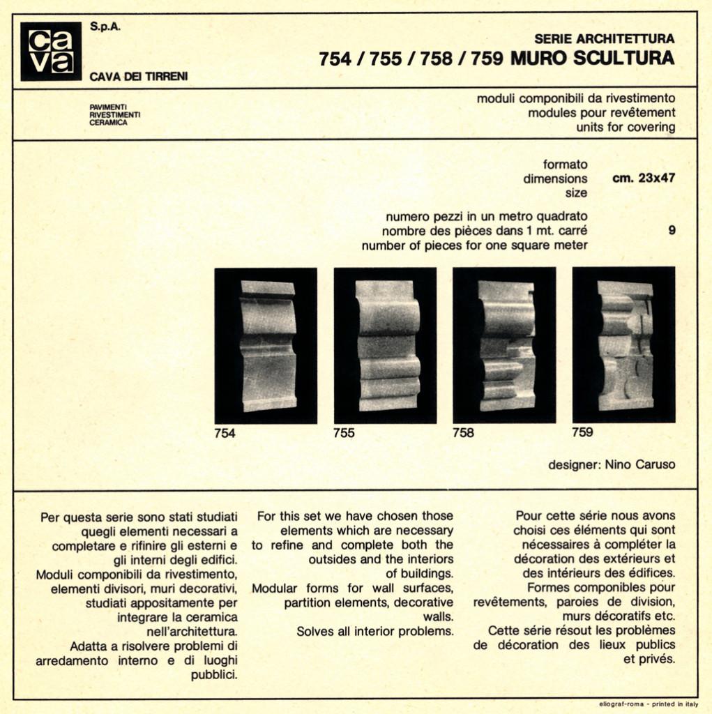 """Pagina tecnico-informativa di moduli componibili di rivestimento """"serie Architettura, 754/755/758 - Muro scultura"""" cm 23x47x1,2. Produzione CAVA, (Cava dè Tirreni), 1969."""