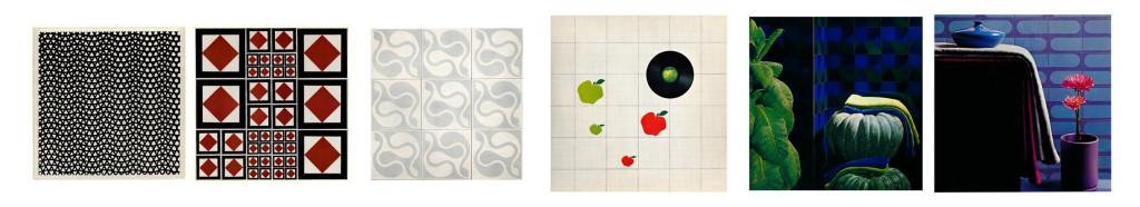 """Piastrelle cm 20x20x1,2 della """"serie design"""". Produzione CAVA, (Cava dè Tirreni), 1969. Da sinistra a destra: Nino Caruso, rivestimento """"serie design 804 - Graphic Nero""""; Roberto Mango, rivestimento """"serie design 836/837/839; Filippo Alison, rivestimento """"serie design 814 - Fior di Luna; Cini Boeri, rivestimento """"serie design 2027/2028/2029 - Mele""""; Paolo Tilche, Rivestimento """"serie design 803 - Fior di Luna""""; Pierre Cardin, Rivestimento """"serie Cardin 883/884/885/2028 - Elysee"""". Archivio Guida."""