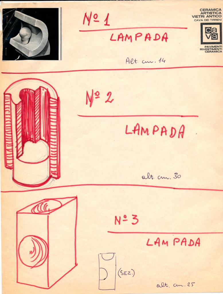Nino Caruso. Schizzi e catalogazione di pezzi per lampade per elementi prodotti a colaggio. 1970/71. Archivio Caruso.