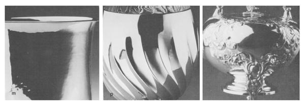 Gabriele Devecchi, L'alfabeto dell'argento, da sinistra: vibrazione da martellinatura, ondulazione rotatoria da sbalzo, profili concavi e convessi in tensione. / Courtesy Archivio Gabriele Devecchi.