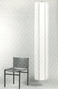 4: Paolo Tilche, sedia in struttura di ferro e seduta in cuoio Rea e lampada da soffitto in teli di stoffa, Arform, 1965 e 1971 / courtesy Archivio fotografico Arform.