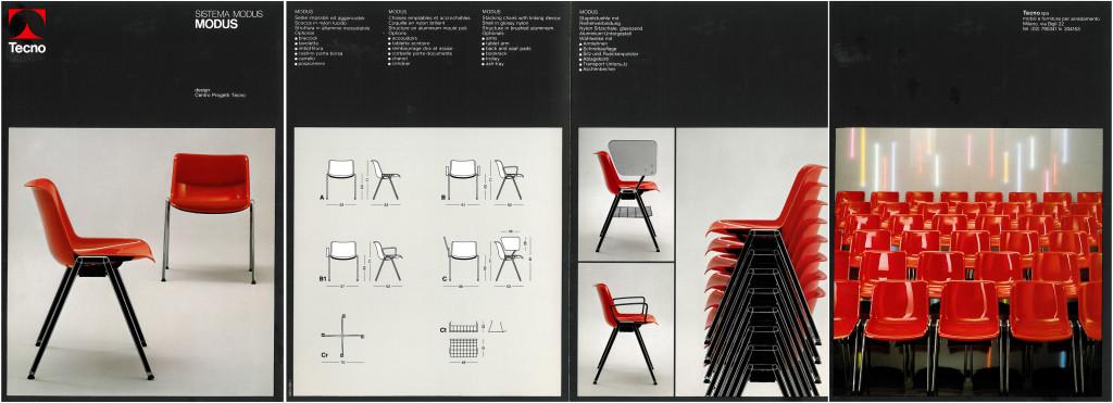 Fig.10 Pagine di un catalogo Tecno degli anni ottanta che mostrano le diverse tipologie della seduta Modus / courtesy Archivio Borsani, Varedo.