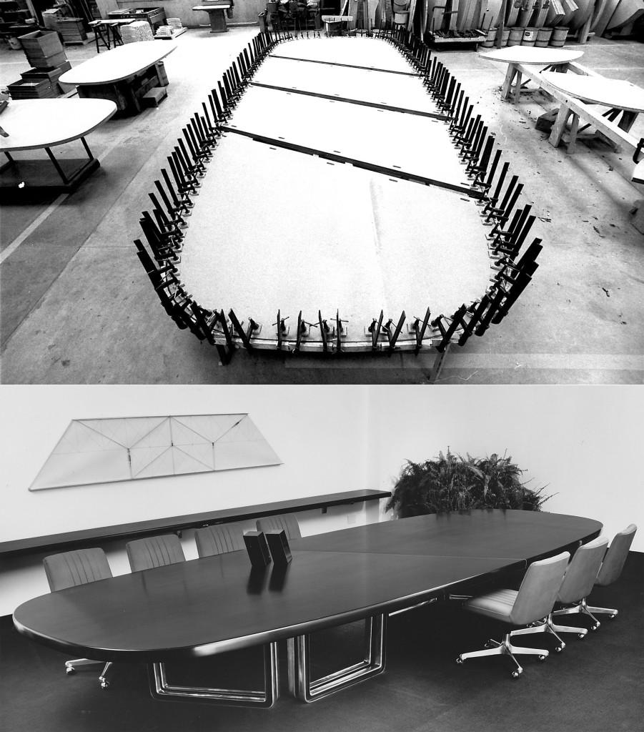 Fig.12 Fase della realizzazione e ambientazione di un tavolo riunioni serie 333 all'interno delle officine Tecno progettato dal Centro Progetti Tecno, 1975-78 / courtesy Archivio Borsani, Varedo.