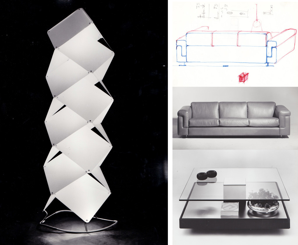 Fig.3 A sinistra: Kugo Toru, prototipo di lampada da terra, 1963; Valeria Borsani e Alfredo Bonetti, schizzo di progetto e divano D120, 1966; Marco Fantoni, tavolino per soggiorno T147, 1970 / courtesy Archivio Borsani, Varedo.