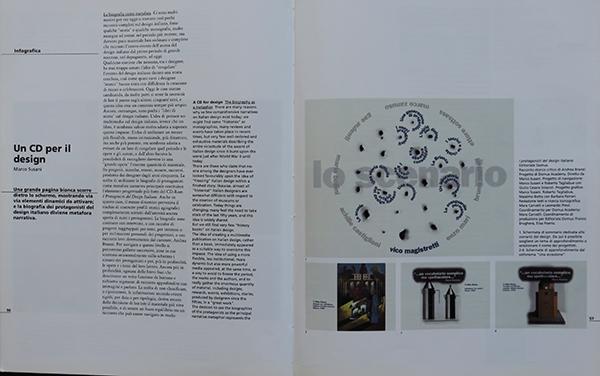 """Fig. 10 - Apertura dell'articolo di Marco Susani (1993/5) in cui si recensisce """"Un CD per il design""""."""