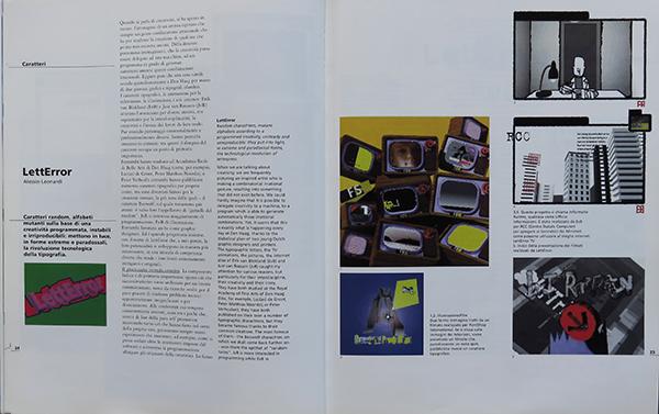 Fig. 13 - Pagina interna dell'articolo di Alessio Leonardi (1998/6) dedicato al lavoro del duo LettError.