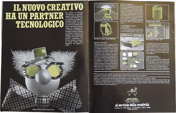 Fig. 4 - Doppia pagina pubblicitaria di RGB Computer graphics (1989/1).