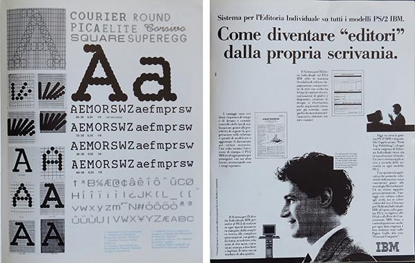 Fig. 5 - Pagina interna dell'articolo di Aldo Colonetti (1985/4) in cui si mostra il lavoro di consulenza di Giancarlo Iliprandi per la Honeywell Italia; a destra pagina pubblicitaria del sistema di editoria da scrivania del modello PS/2 IBM (1988/4).