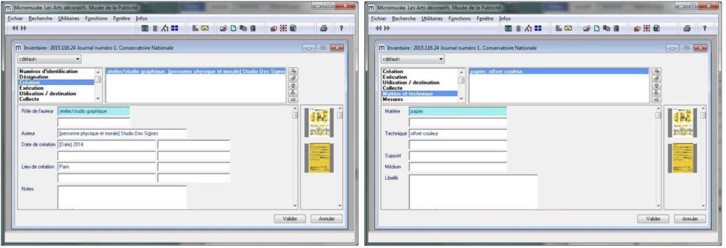 Fig. 5-7 Schede oggetto in Micromusée: identificazione inventario, dati tecnici e indicizzazione, dati autori.