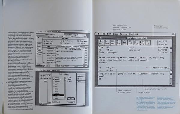 Fig. 7 - Pagina interna dell'articolo di Gui Bonsiepe (1991/3) in cui si mostra il suo progetto di interfaccia per un sistema di comunicazione di posta elettronica.